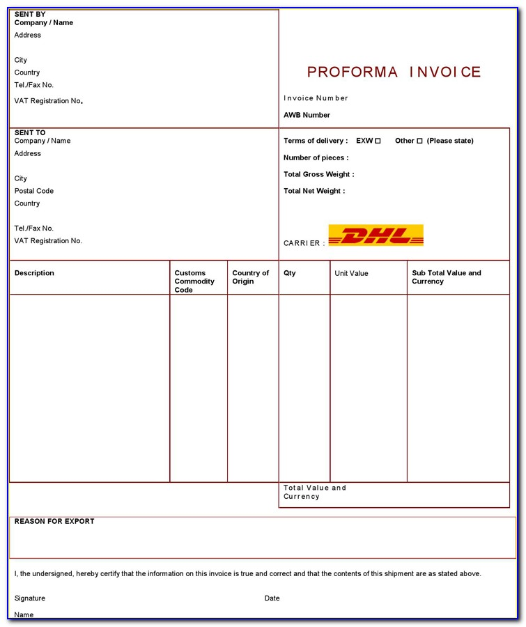 Dhl Canada Commercial Invoice Pdf