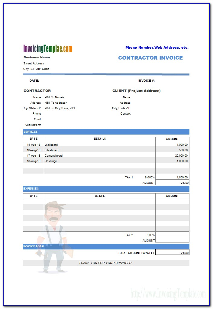 Drywall Invoice Sample
