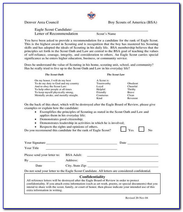 Eagle Scout Letter Of Recommendation Cover Letter