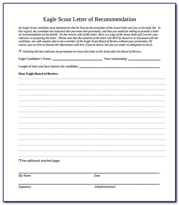 Eagle Scout Letter Of Recommendation Request