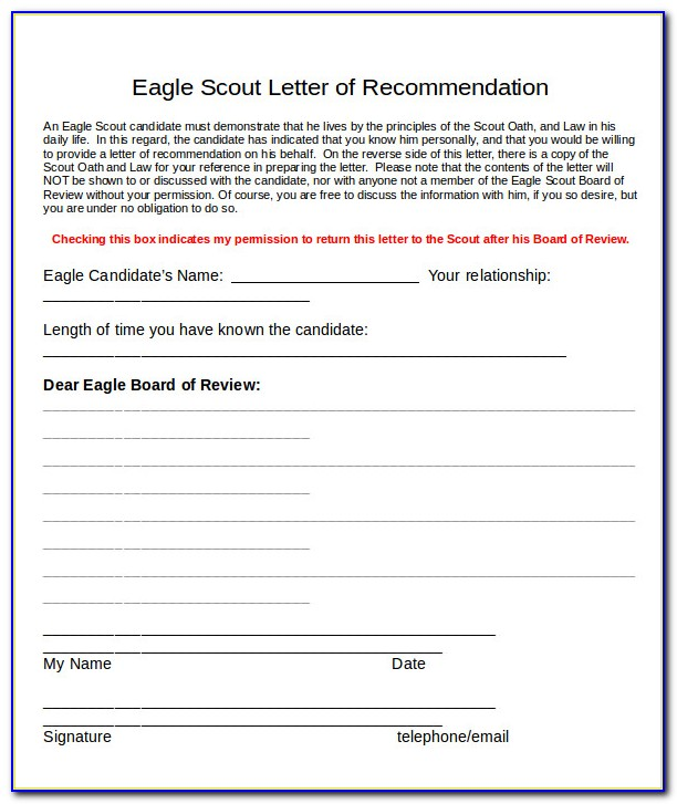 Eagle Scout Letter Of Recommendation Requirements