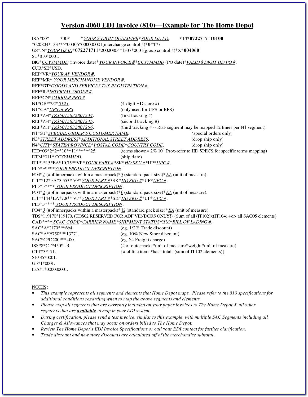 Edi Invoice Sampleedi Invoice Sample