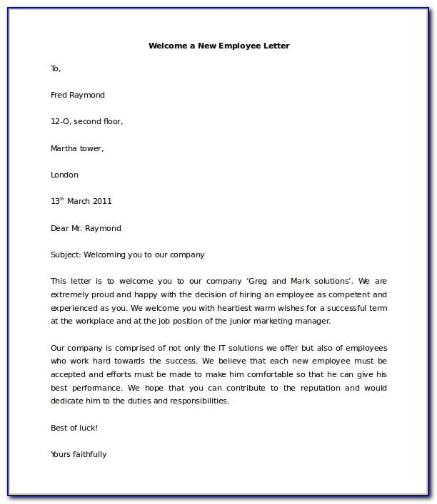 Employee Welcome Letter From Hr