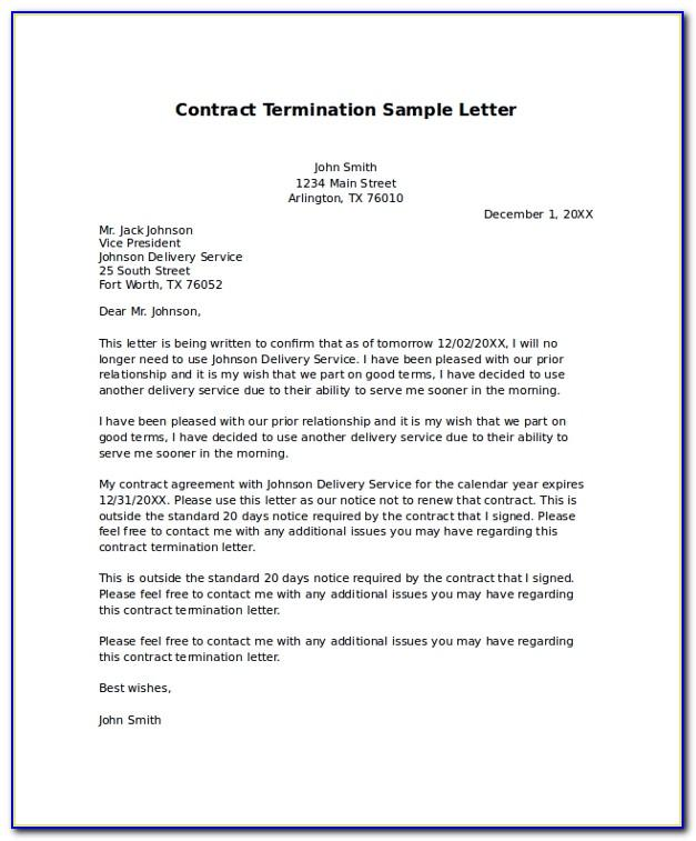 Employment Contract Termination Letter Sample Doc