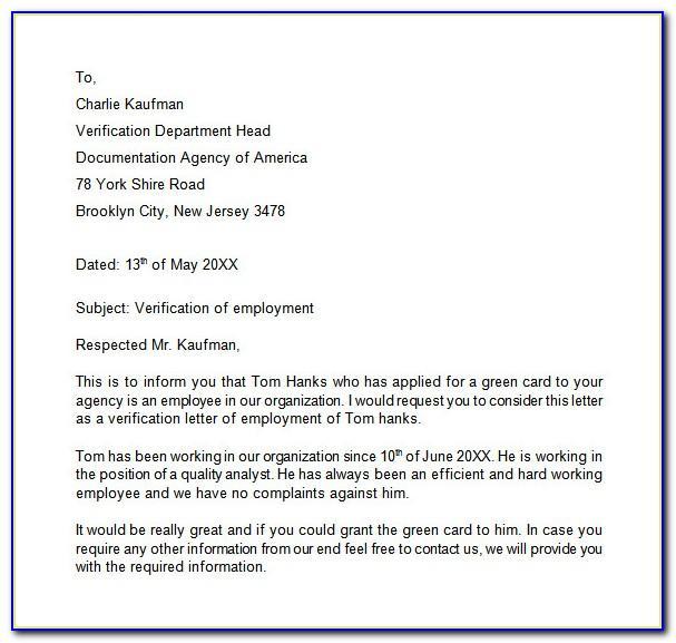 Employment Verification Letter For Visa Nz