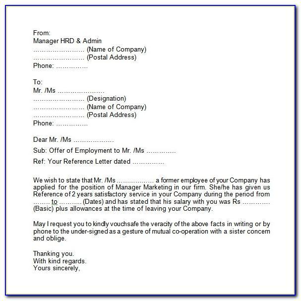 Employment Verification Letter For Visa Pdf
