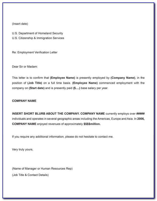Employment Verification Letter For Visa Sample