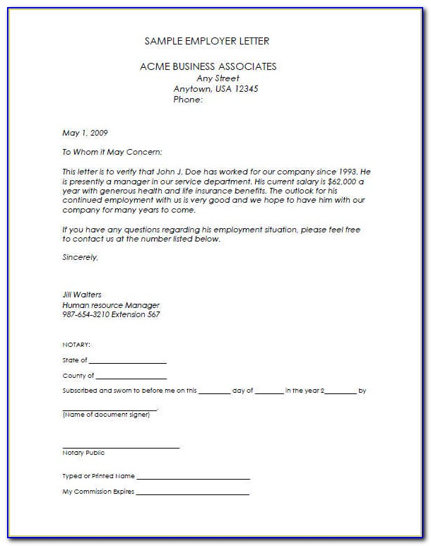 Employment Verification Letter Template Microsoft Word