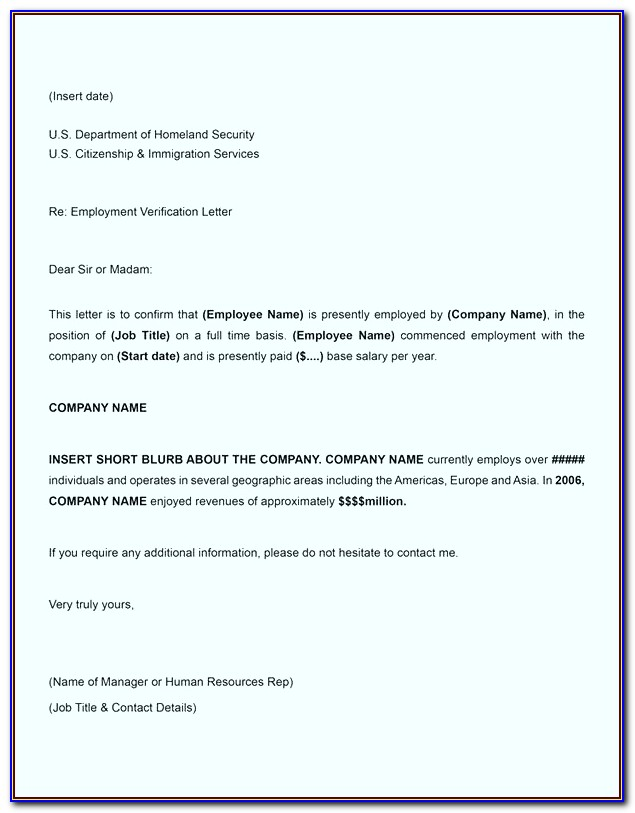Employment Verification Letter Template Word Australia