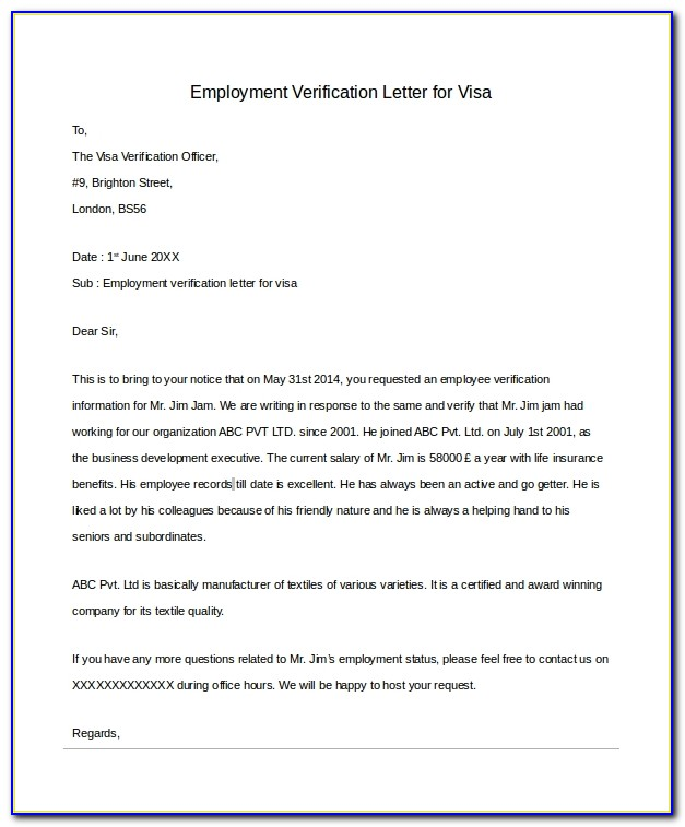 Employment Verification Letter Template Word Canada
