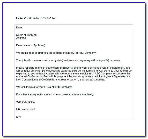 Employment Verification Letter Template Word Download