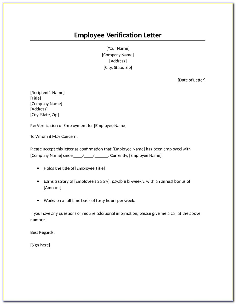 Employment Verification Letter Template Word Uk