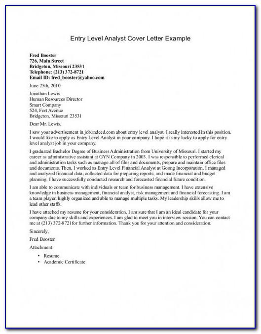 Entry Level Cover Letter Example No Experience