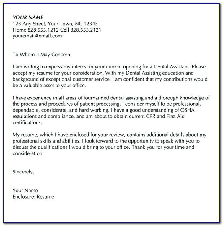 Entry Level Dental Assistant Cover Letter Examples