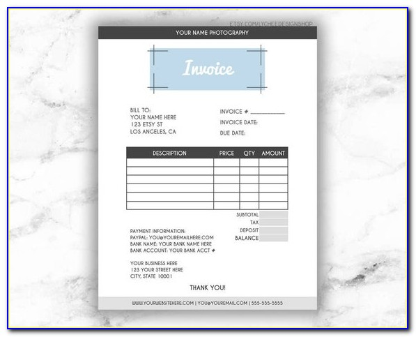Etsy Invoice Template