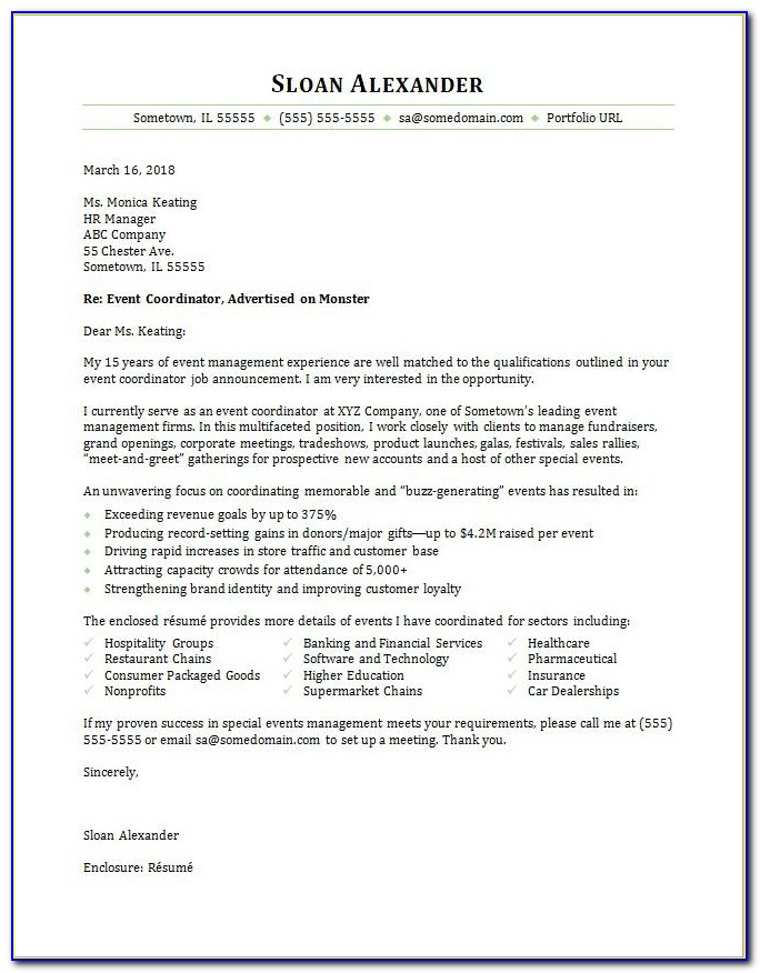 Event Planner Cover Letter Examples