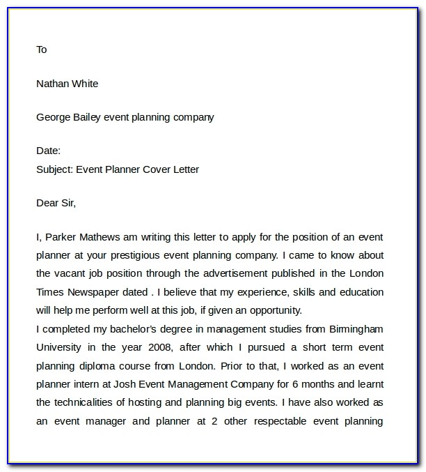 Event Planner Cover Letter For Resume