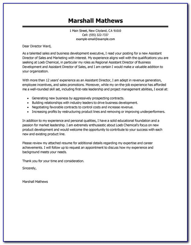 Example Email Cover Letter For Internal Position