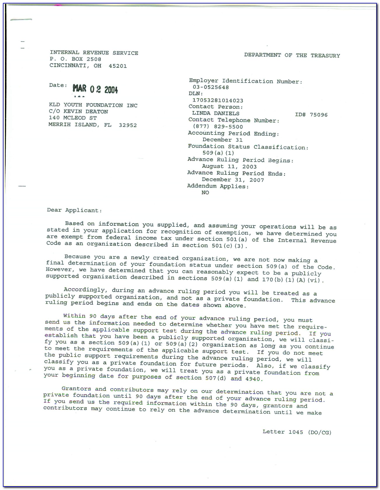 Example Of Irs 501c3 Determination Letter
