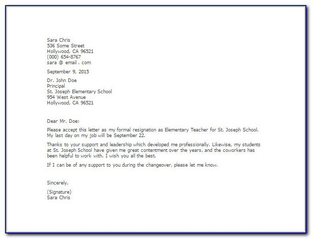 Example Of Resignation Letter For Teaching Position