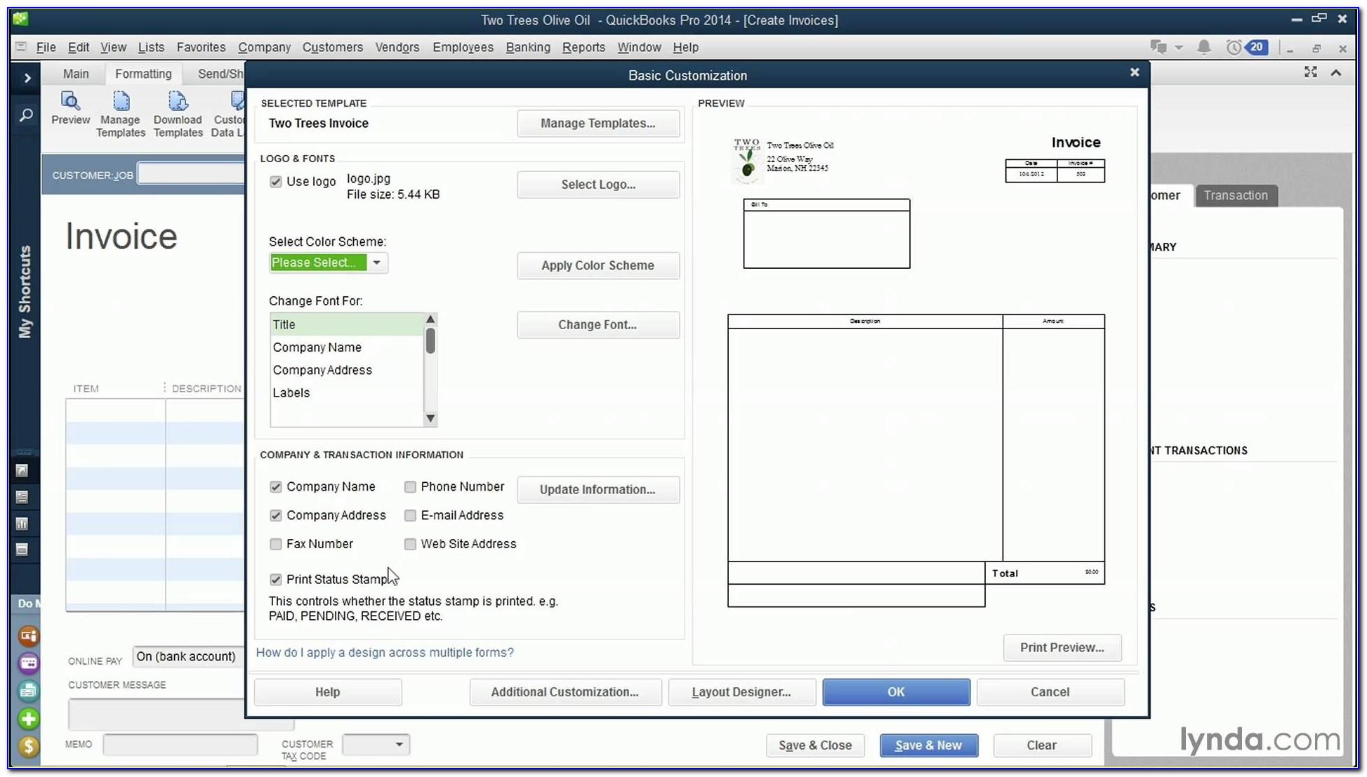 Example Quickbooks Invoice