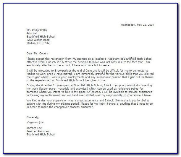 Examples Of Resignation Letters For Teachers Uk