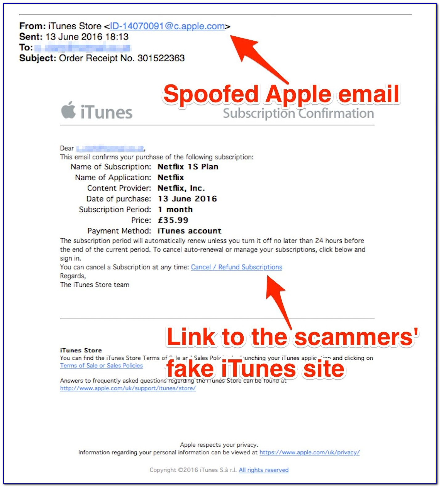 Fake Apple Invoice Email 2018