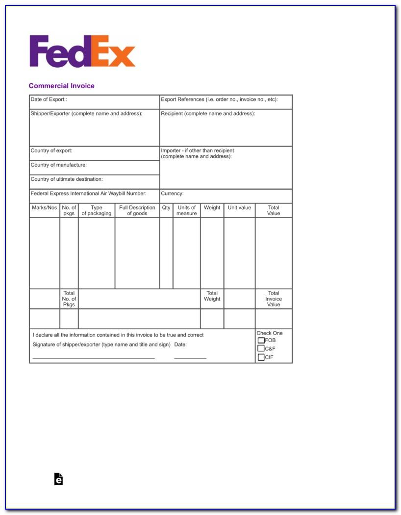 Fedex Commercial Invoice Form Printable