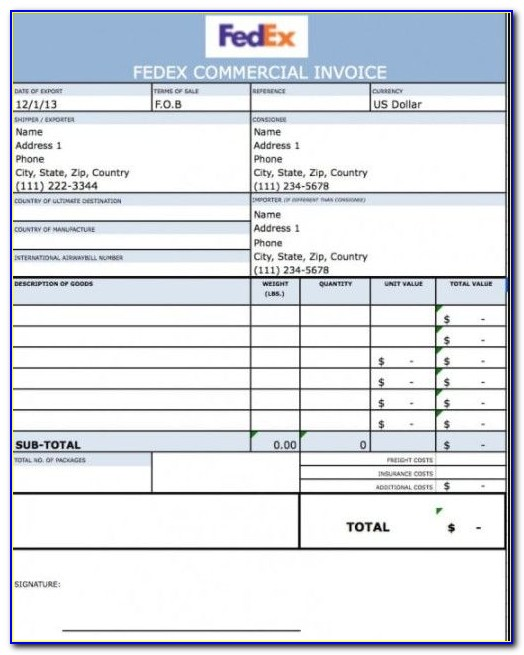 Fedex Commercial Invoice Word Document