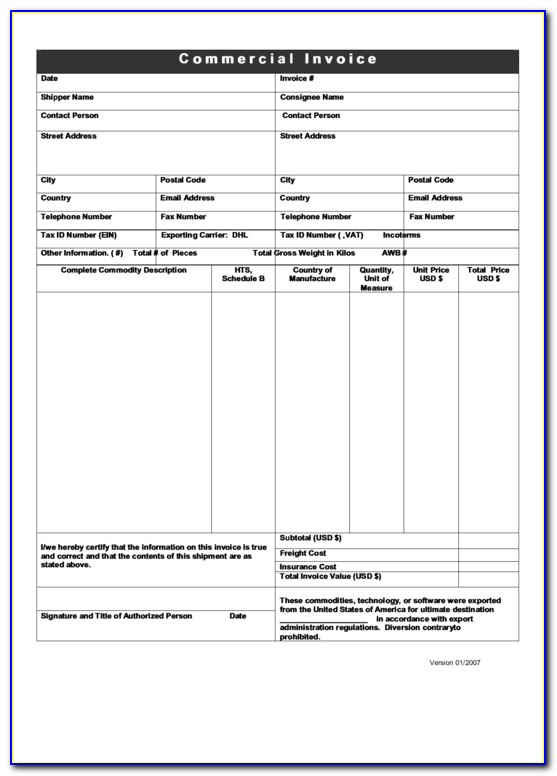 Fillable Pdf Invoice Form