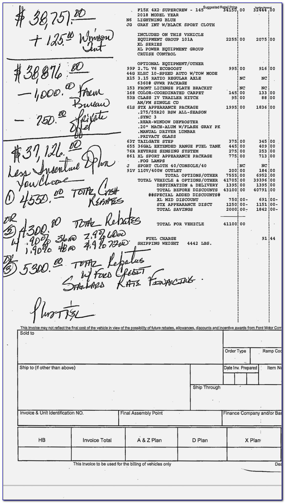 Ford Raptor Dealer Invoice