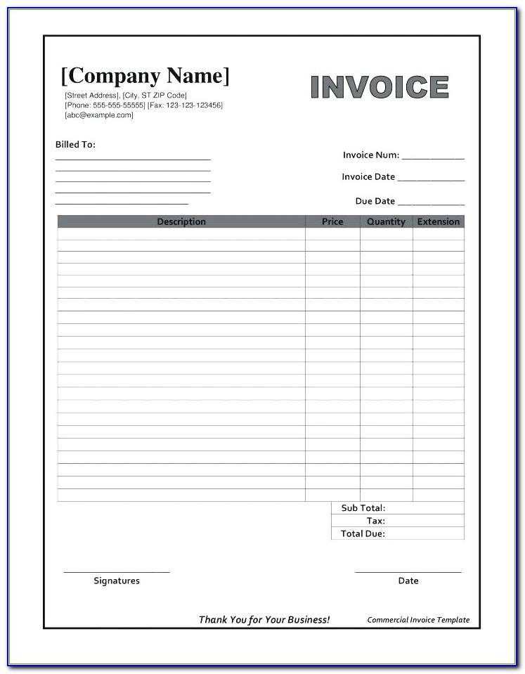 Free Blank Fillable Invoice Form