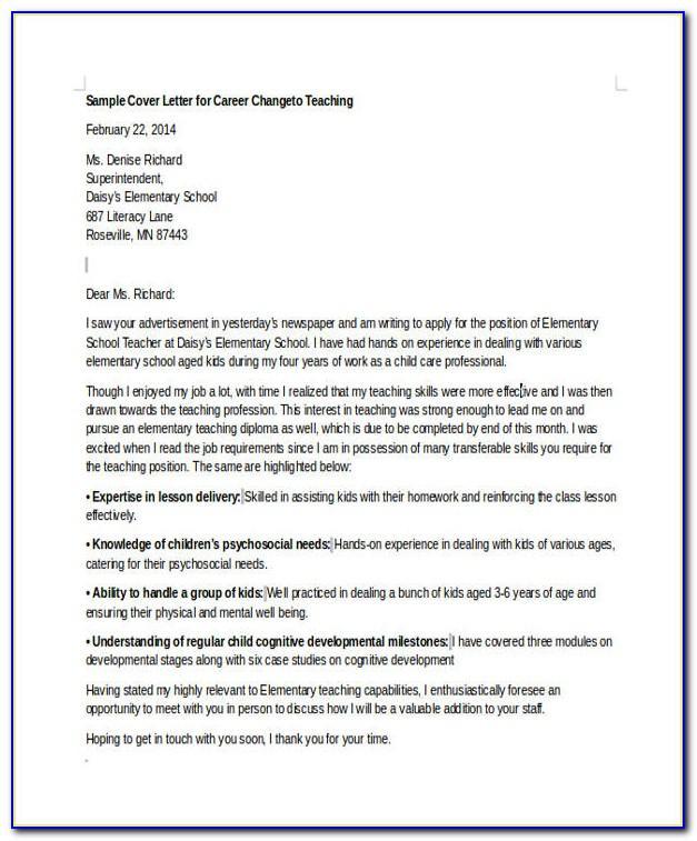 Free Career Change Cover Letter Samples