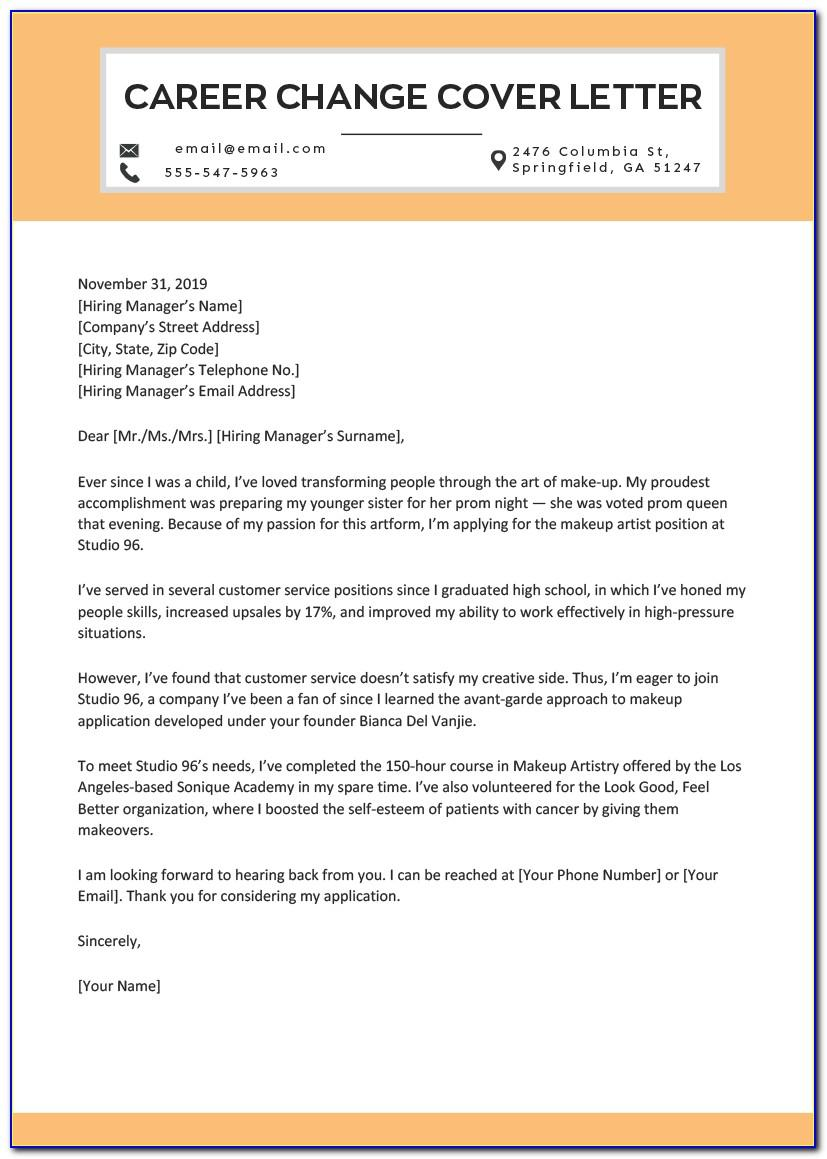 Free Career Change Cover Letter Template