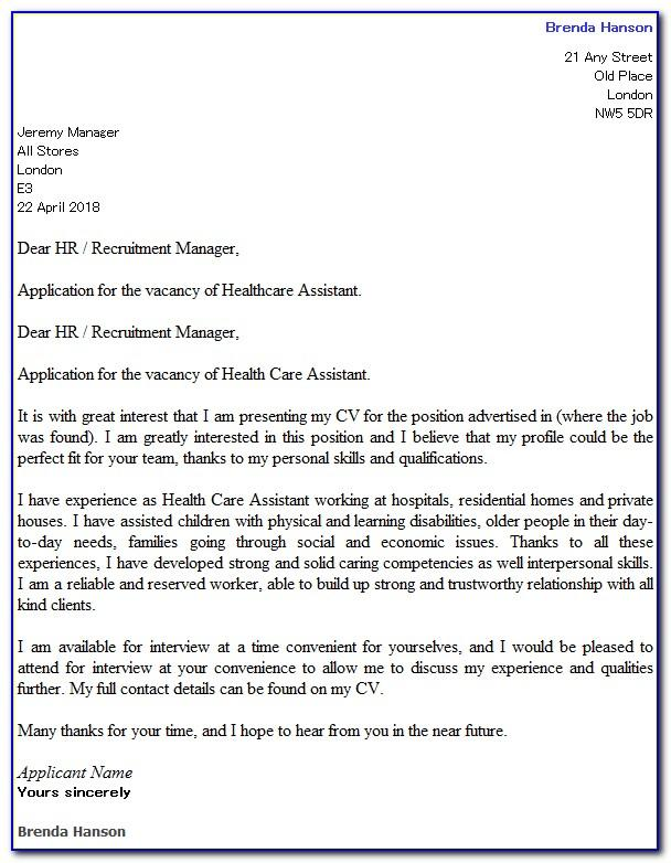 Free Cna Cover Letter Examples