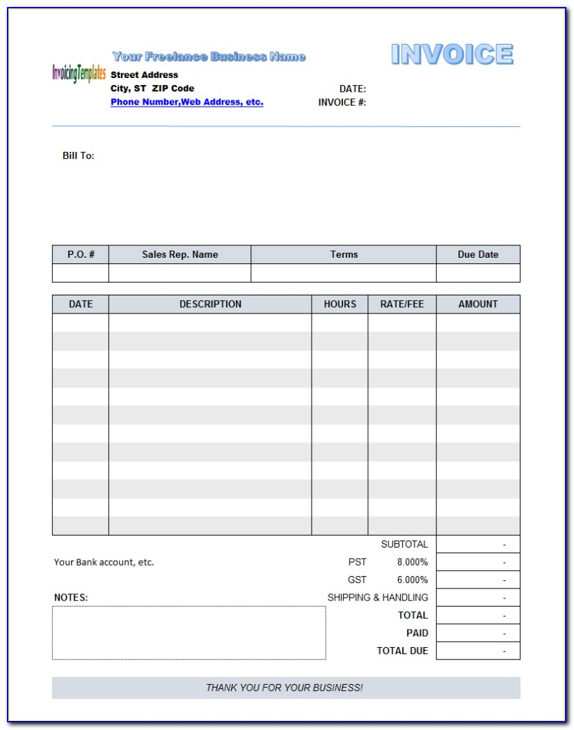 Free Fillable Pdf Invoice