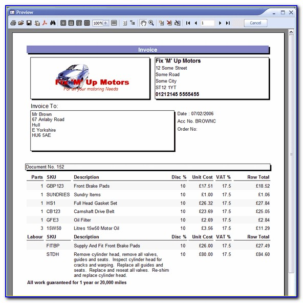 Free Garage Invoice Template Uk