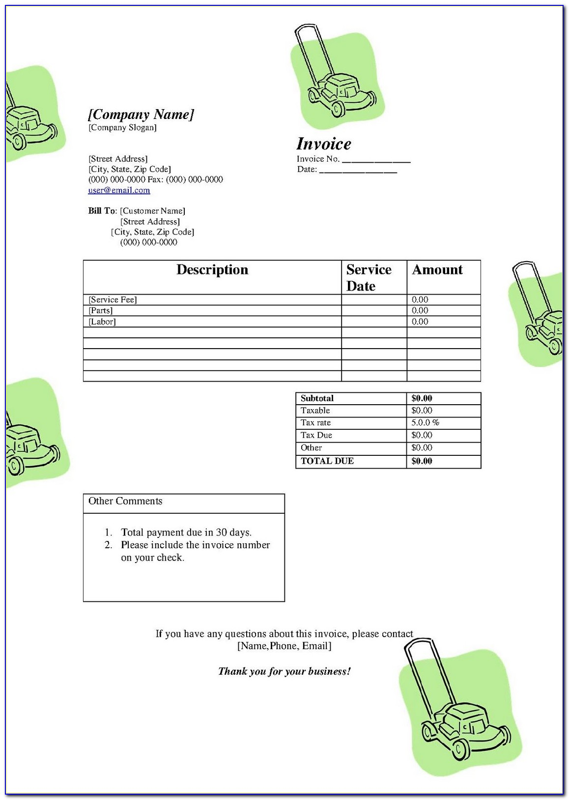 Free Lawn Maintenance Invoice Template