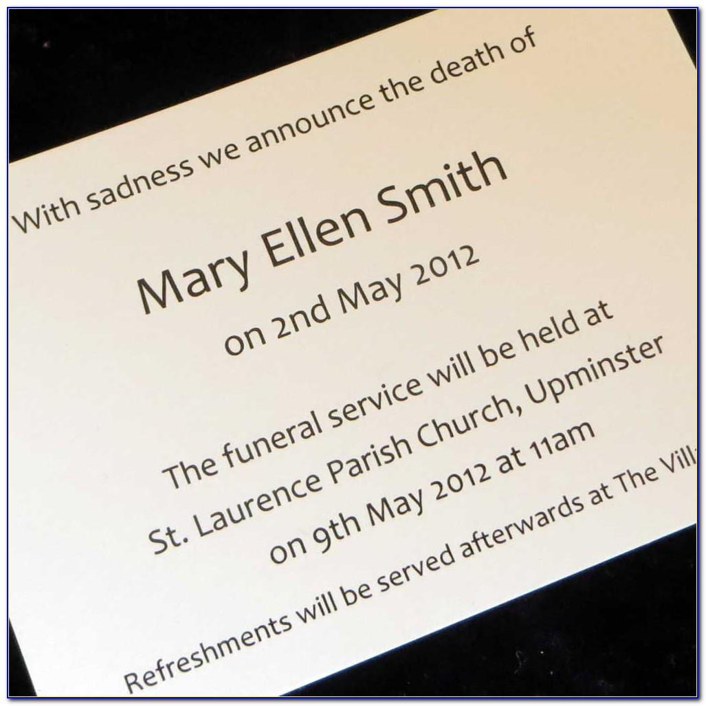 Funeral Announcement Templates Free