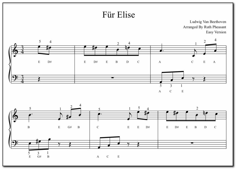 Fur Elise Piano Letters Both Hands