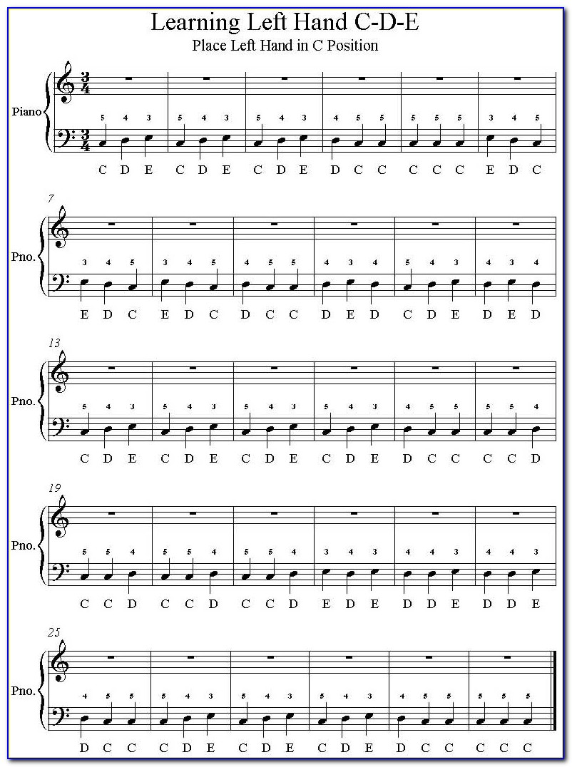 Fur Elise Piano Letters Left Hand