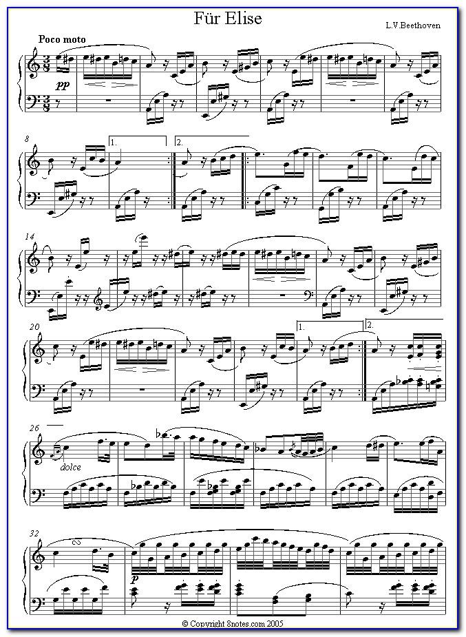 Fur Elise Piano Sheet Letters