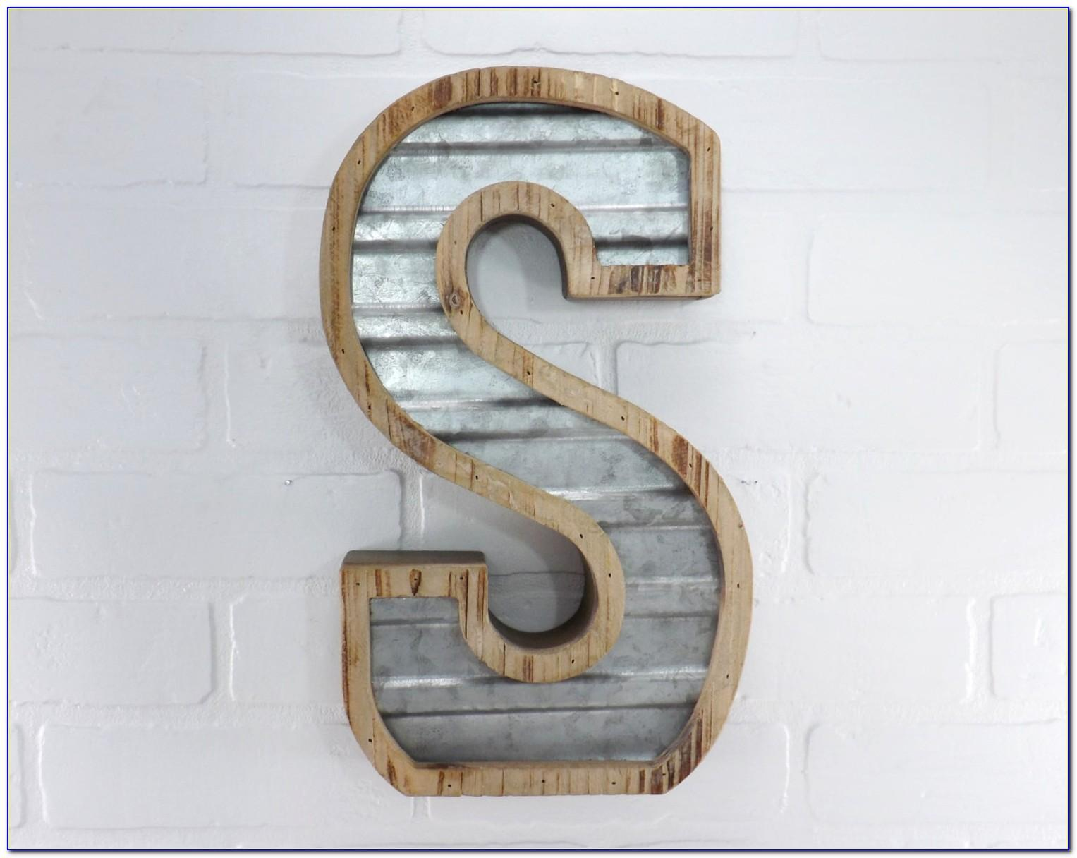 Galvanized Metal Letter Wall Decor