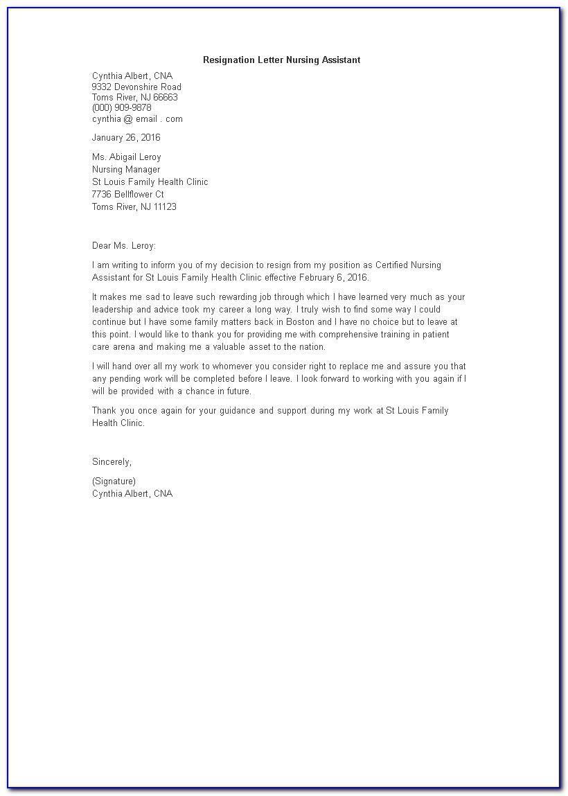 Good Cna Resignation Letter