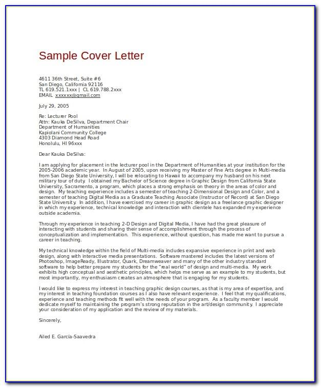 Graphic Design Cover Letter Example Uk