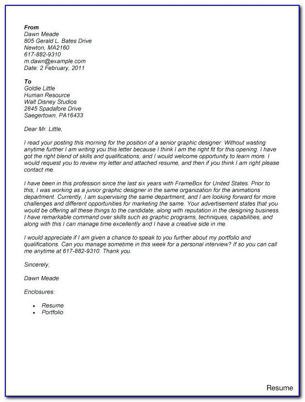 Graphic Design Cover Letter Example