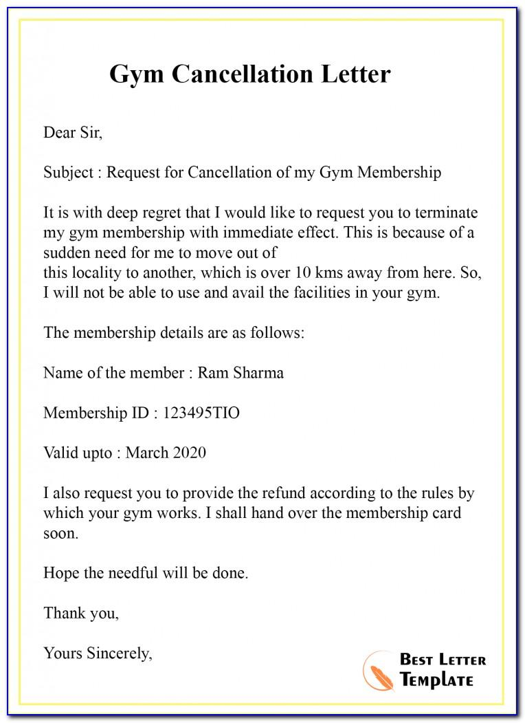 Gym Membership Termination Letter Sample