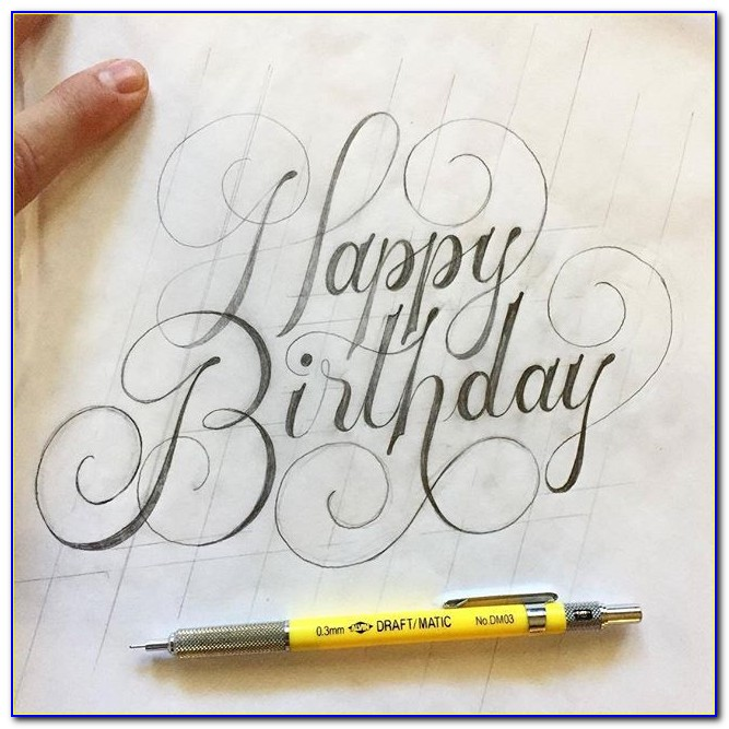 Happy Birthday Friend Hand Lettering