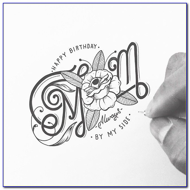 Happy Birthday Mom Hand Lettering