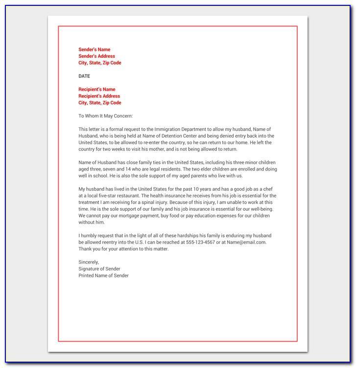 Hardship Letter For Immigration For Spouse Sample